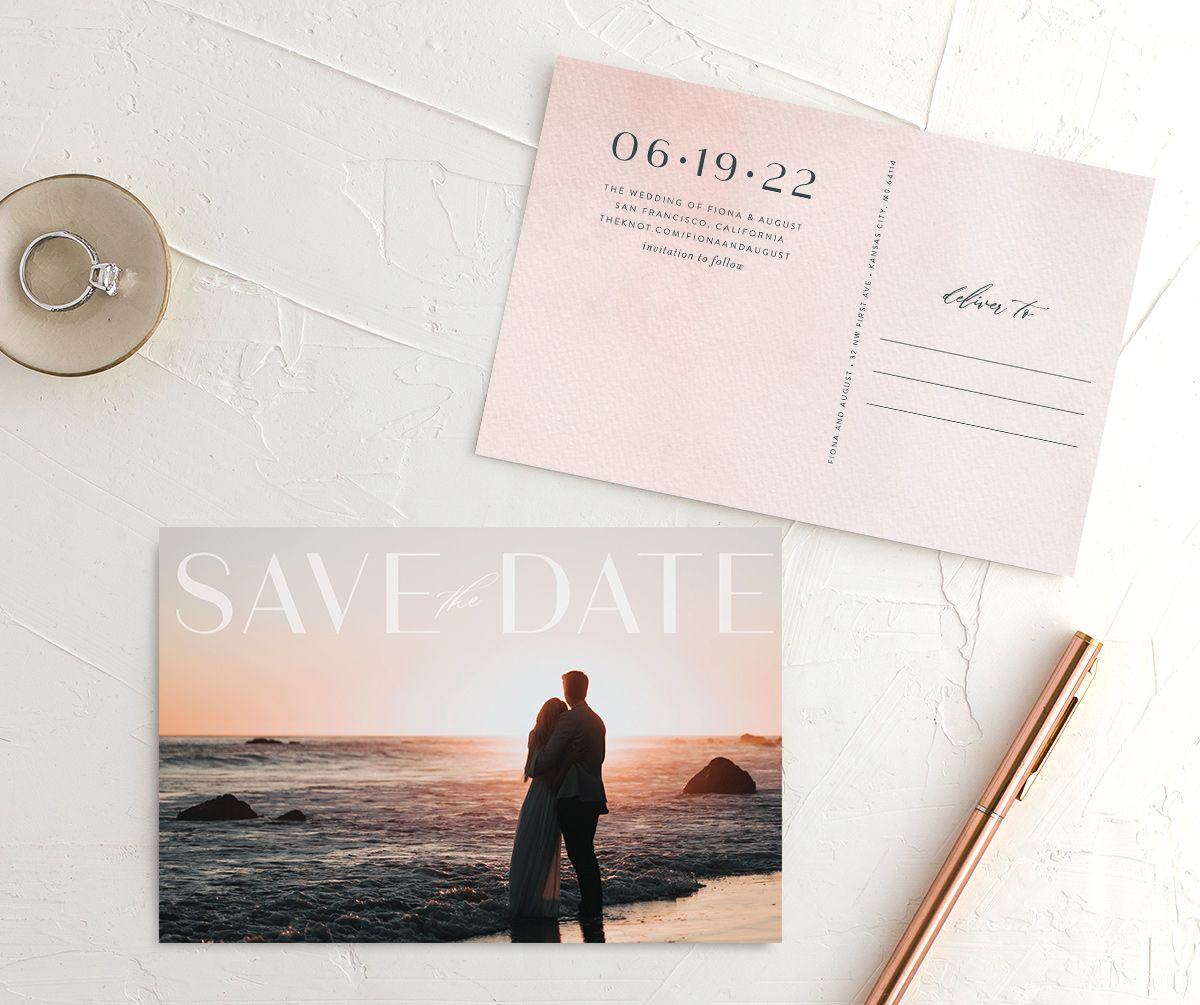 Awash save the date postcard pink