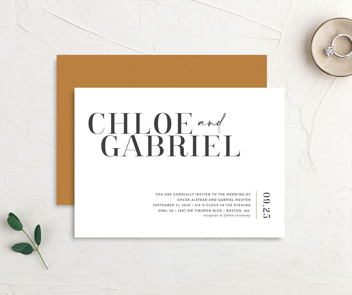 Minimal Chic wedding invitation closeup back in white front & back