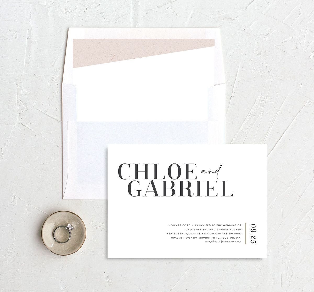 Minimal Chic wedding invite with liner in white