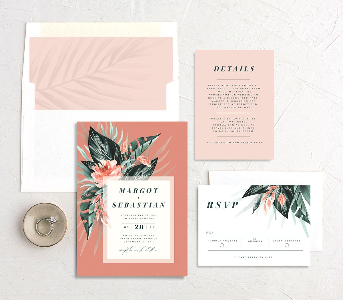 Mod Tropic Wedding Suite shown in pink