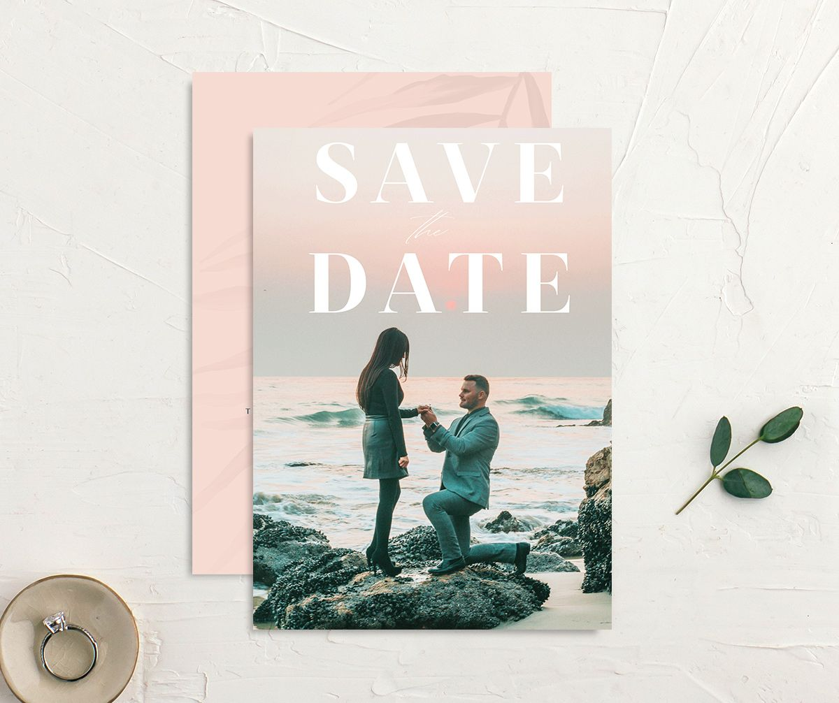 Mod Tropic save the date front & back in pink