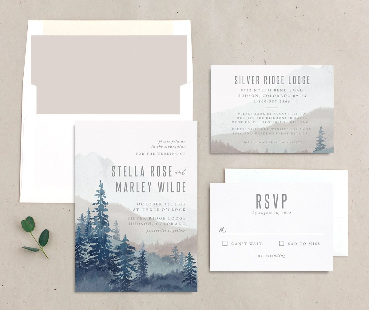 Painted Mountains invite suite in blue