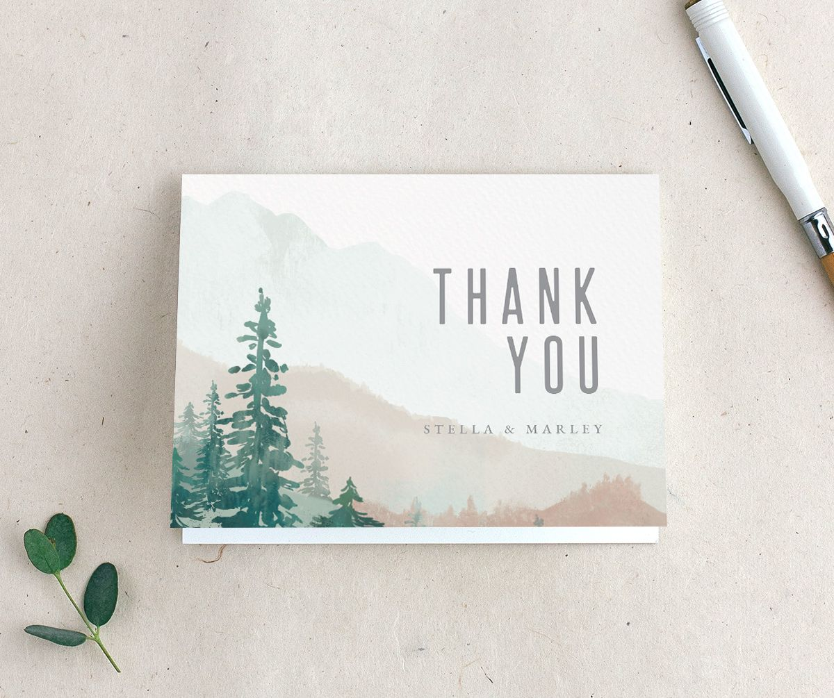 Painted Mountains thank you card in green
