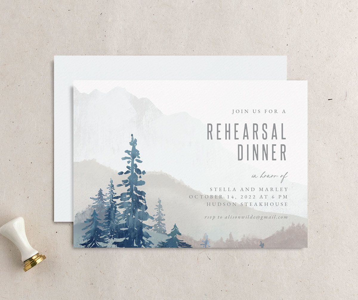 Painted Mountains rehearsal dinner invitation blue front and back