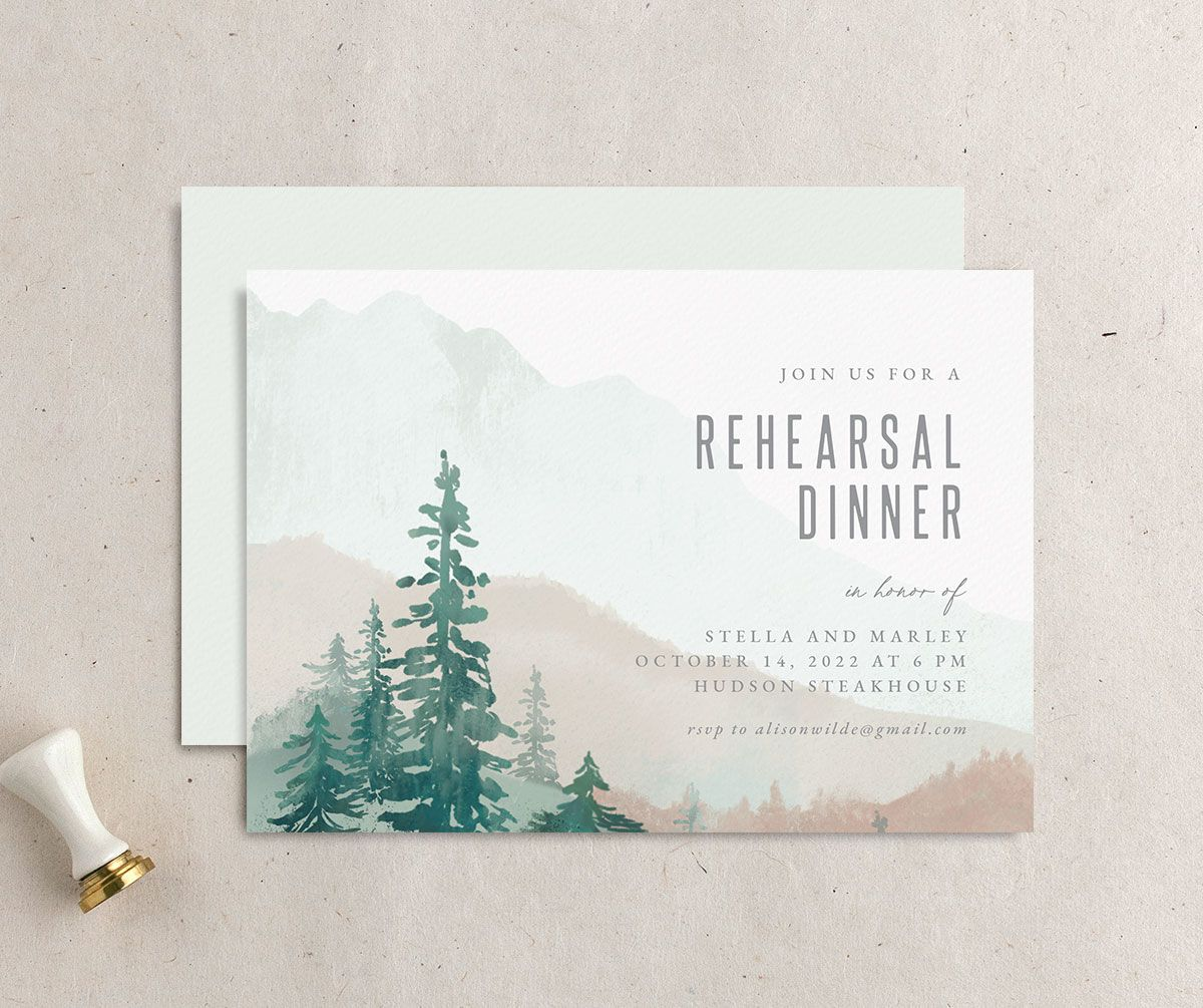 painted mountains rehearsal dinner front and back in green
