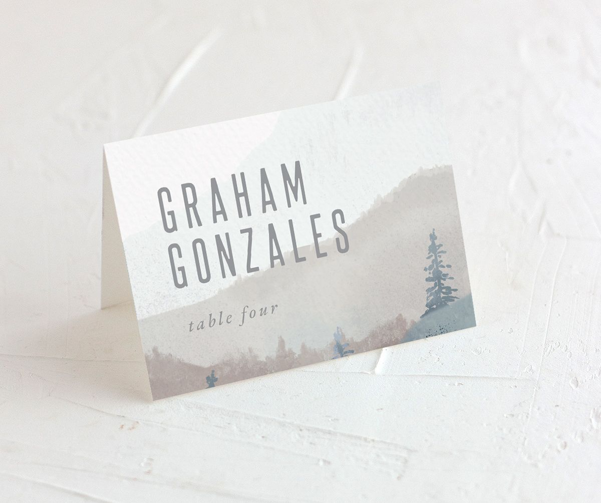 Painted Mountains wedding place card merch in blue