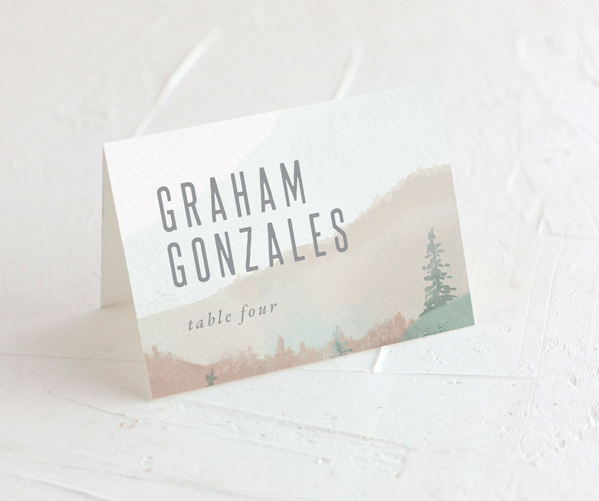 painted mountain wedding place card in green merch
