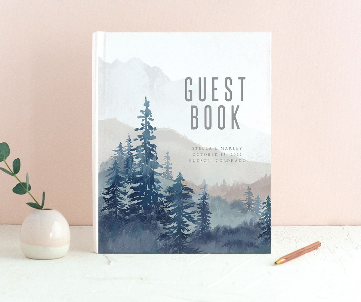 Painted Mountains wedding guest book merch in blue