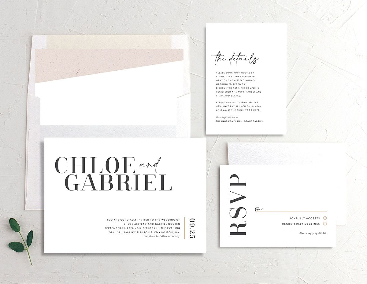 Minimal Chic wedding invitation suite shown in white