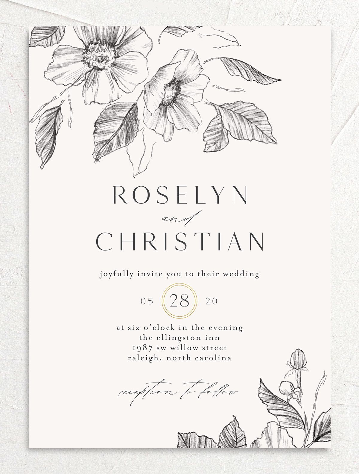 Botanical Floral wedding invitation front