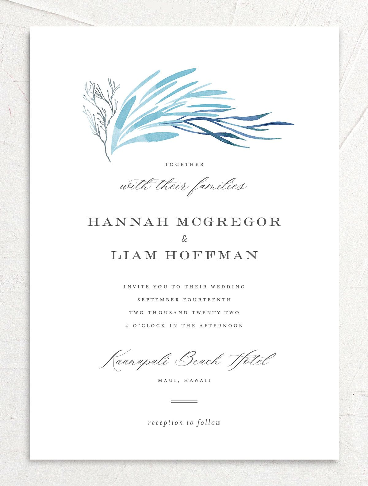 Elegant Beach wedding invitation front blue