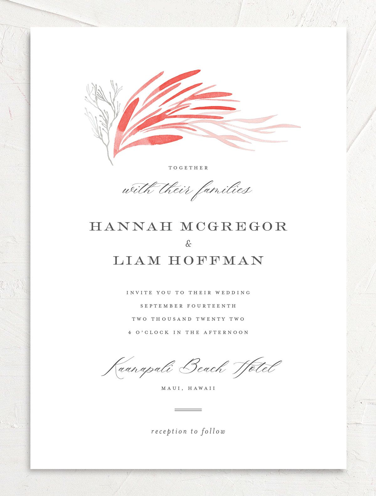 Elegant Beach wedding invitation front pink