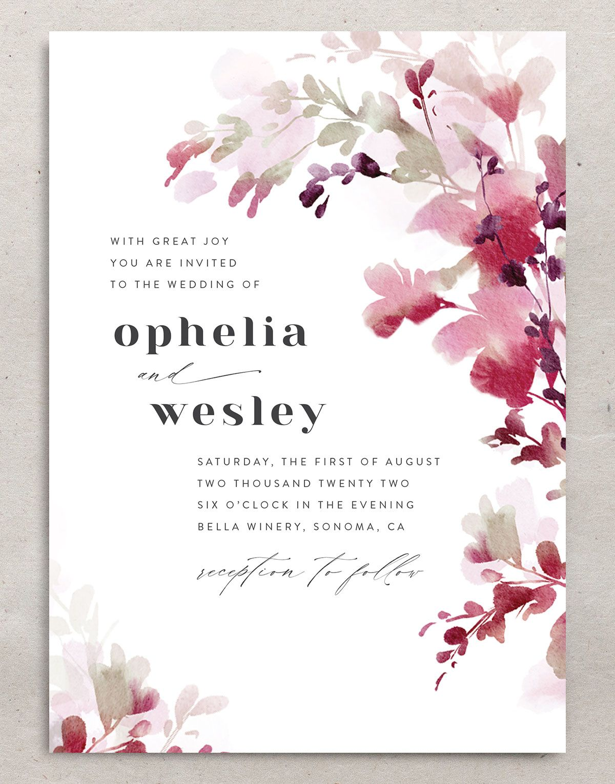 Watercolor Blooms wedding invitation front burgundy