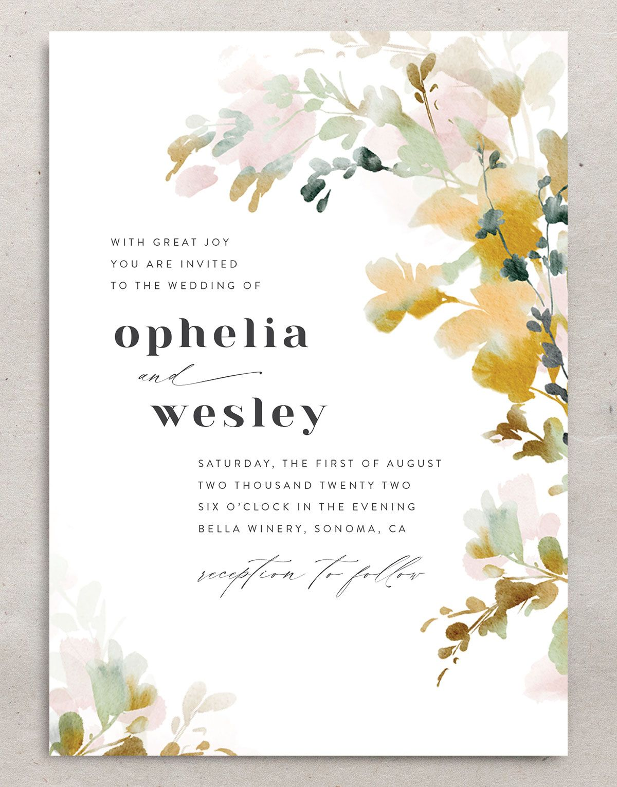 Watercolor Blooms wedding invitation front gold