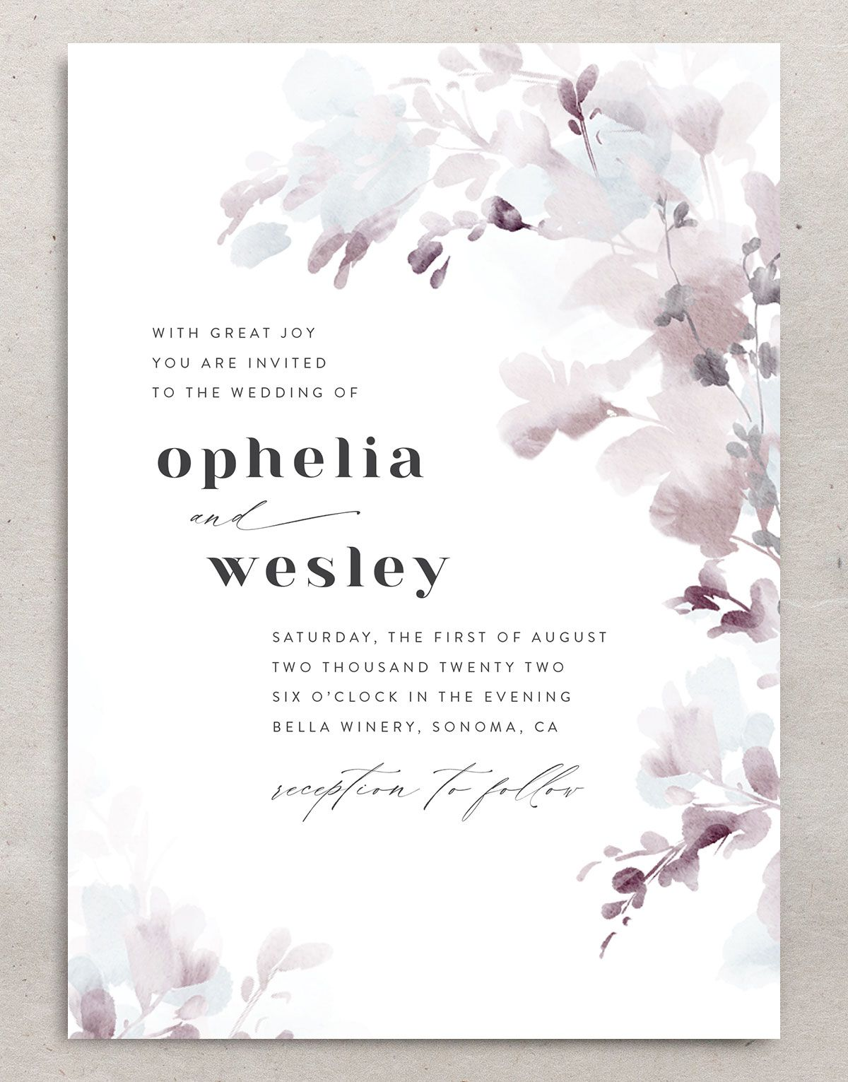 Watercolor Blooms wedding invitation front gray