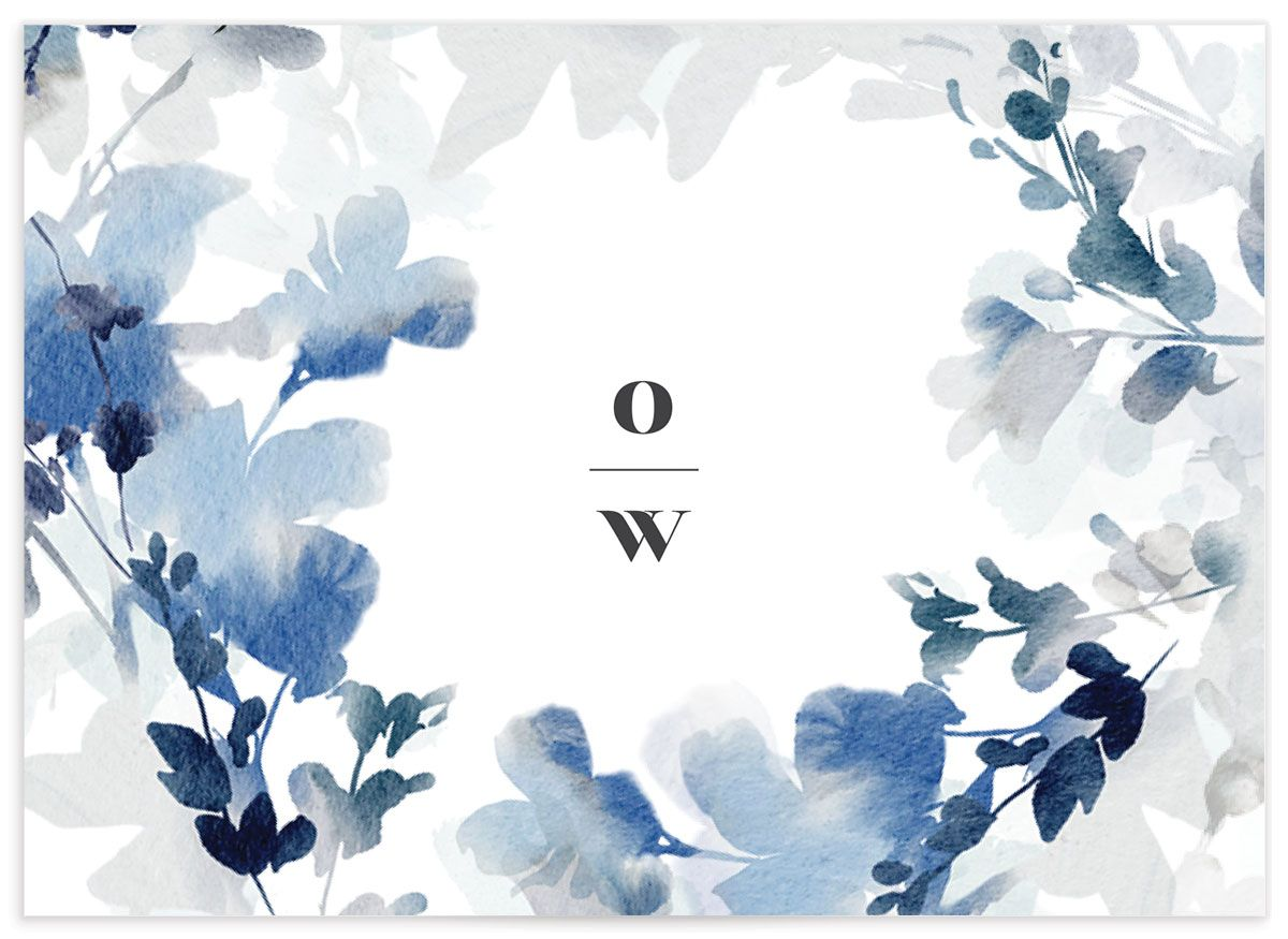 Watercolor Blooms RSVP card back blue
