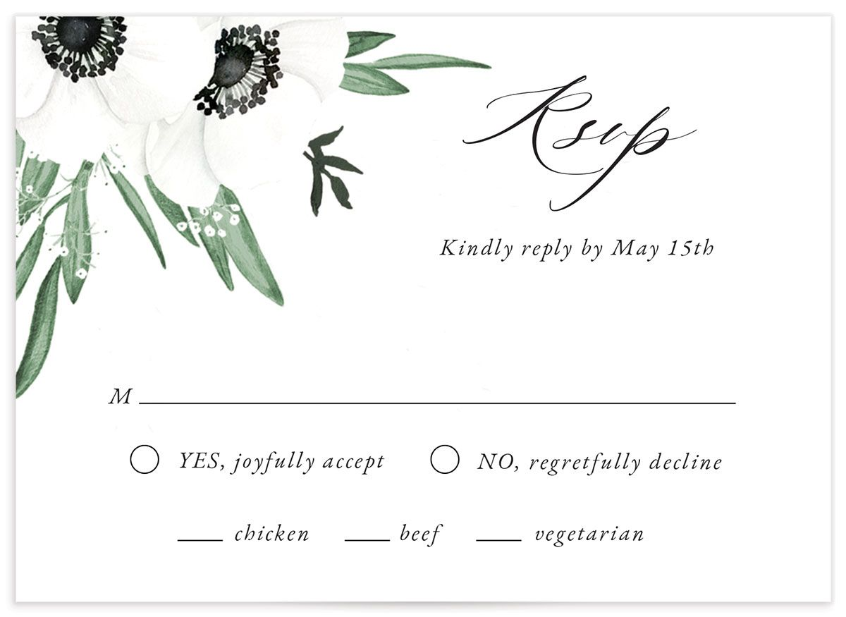 Classic Anemone RSVP card front
