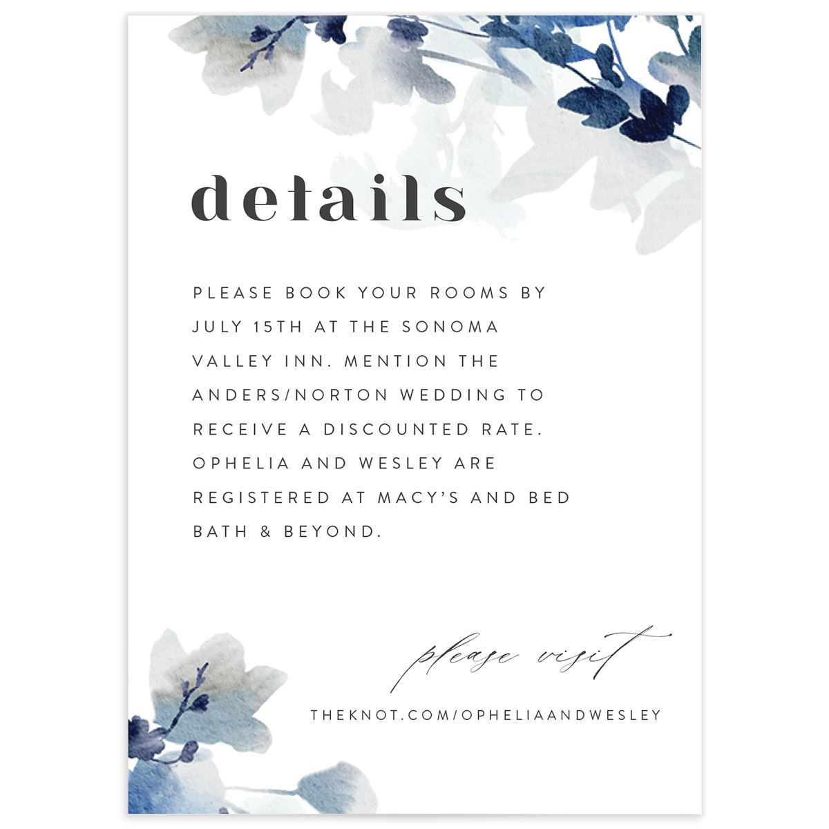 Watercolor Blooms enclosure card front blue