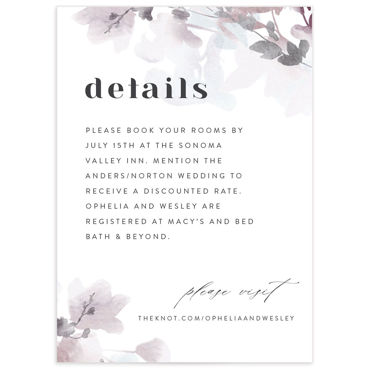 Watercolor Blooms enclosure card front gray