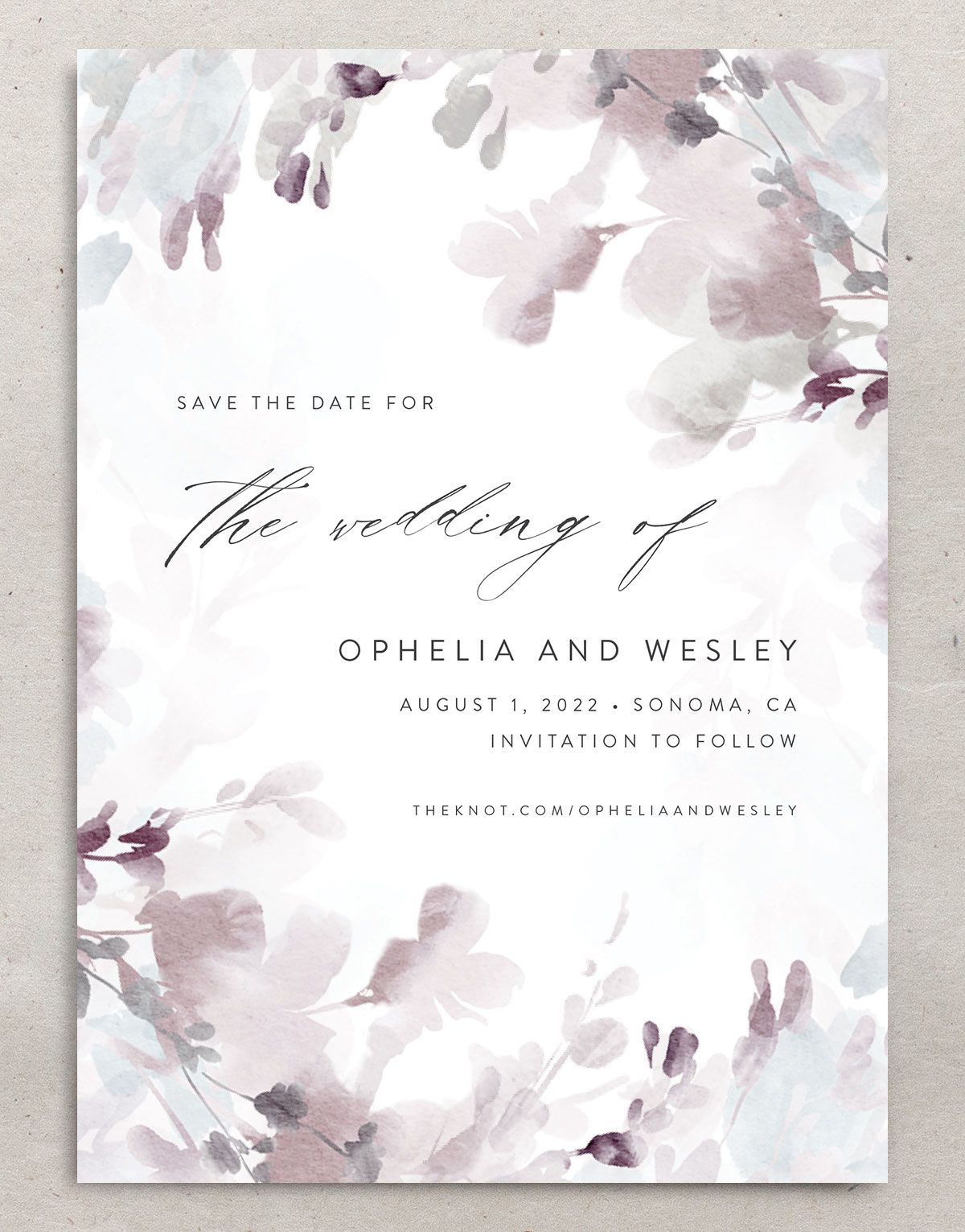 Watercolor Blooms save the date front gray