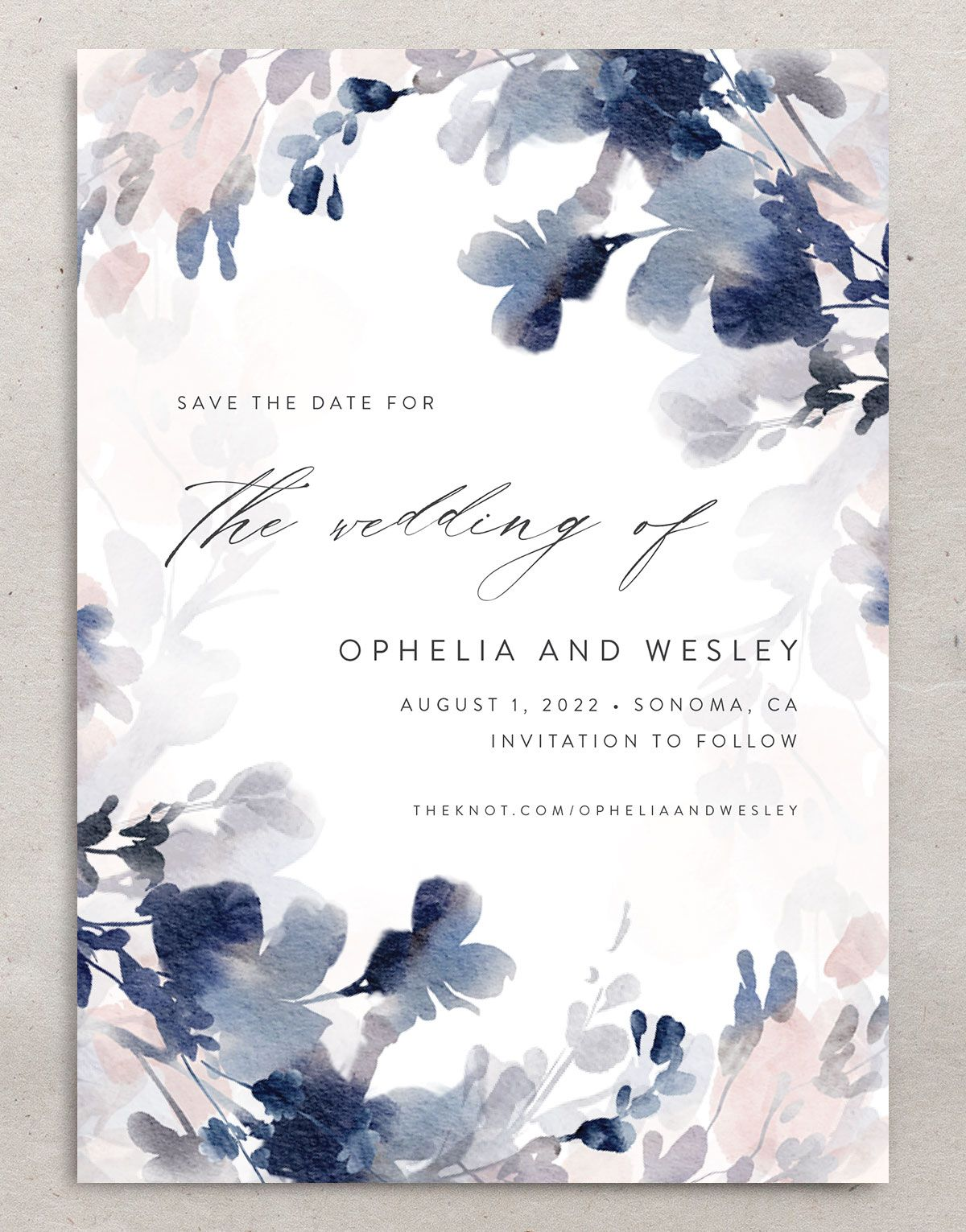 Watercolor Blooms save the date front navy