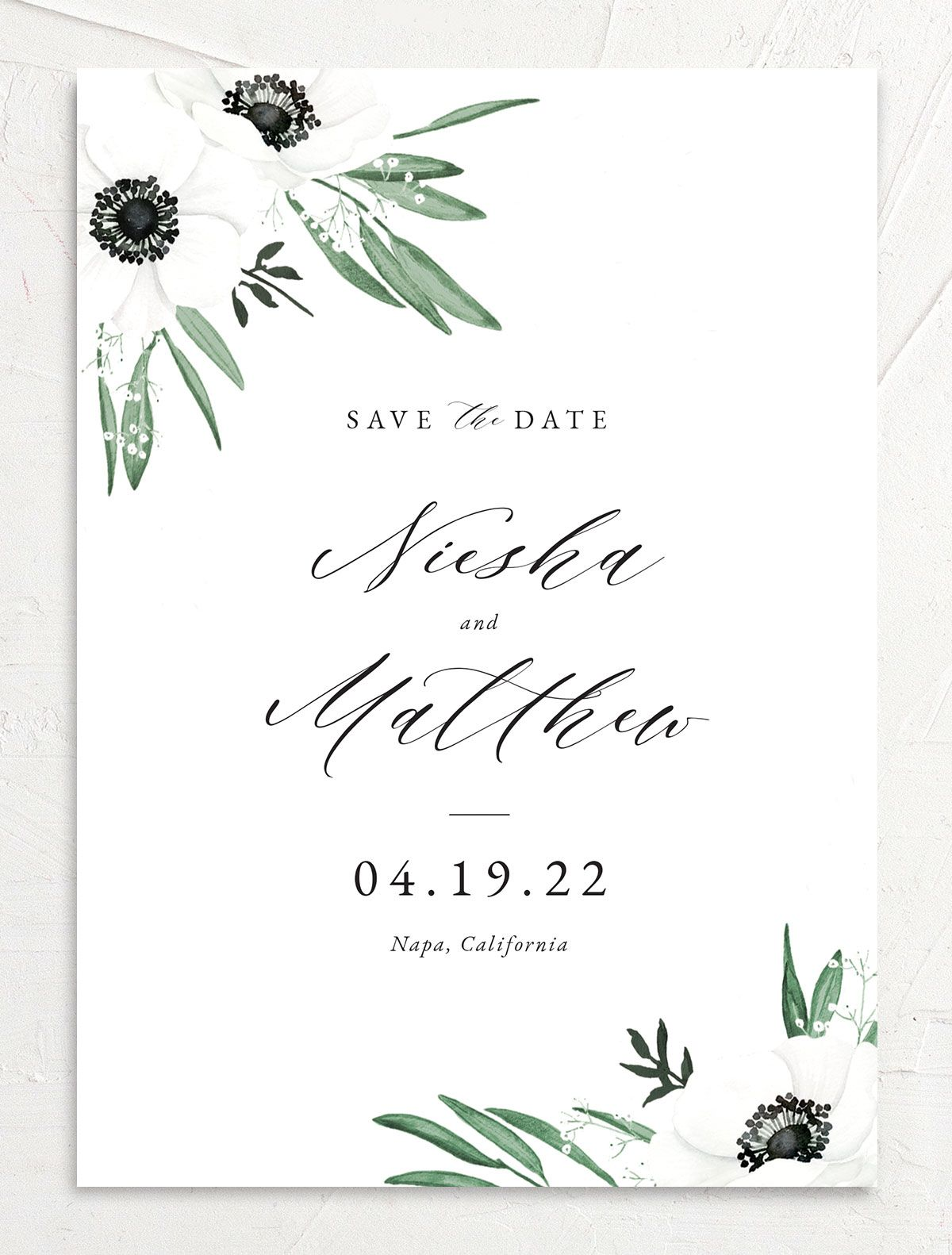 Classic Anemone save the date front