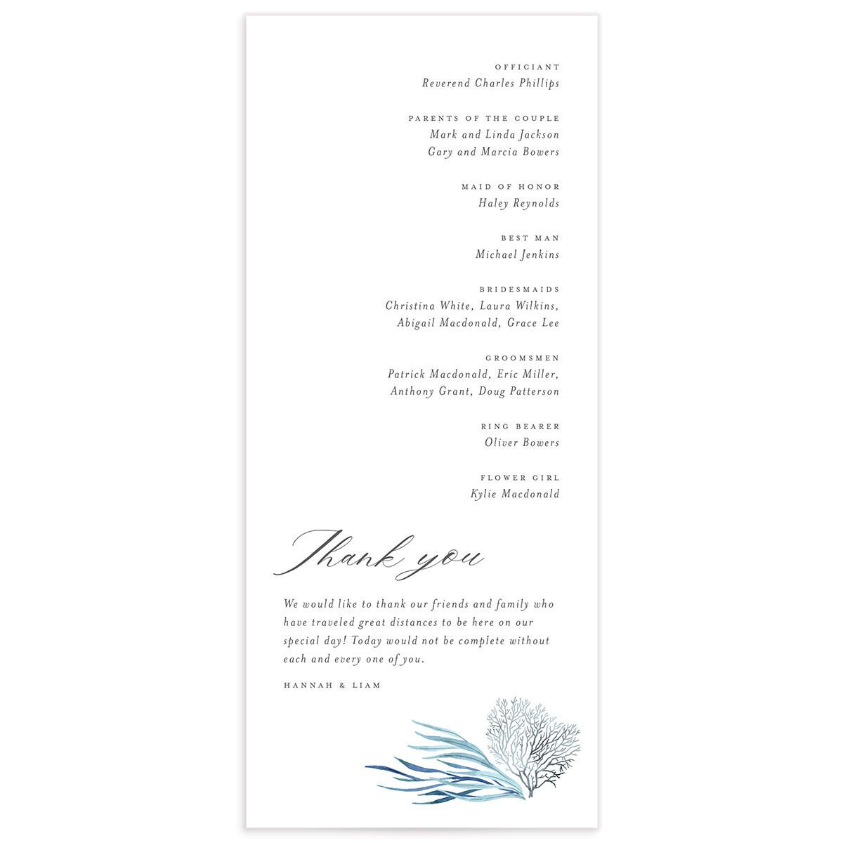 Elegant Beach wedding program back blue