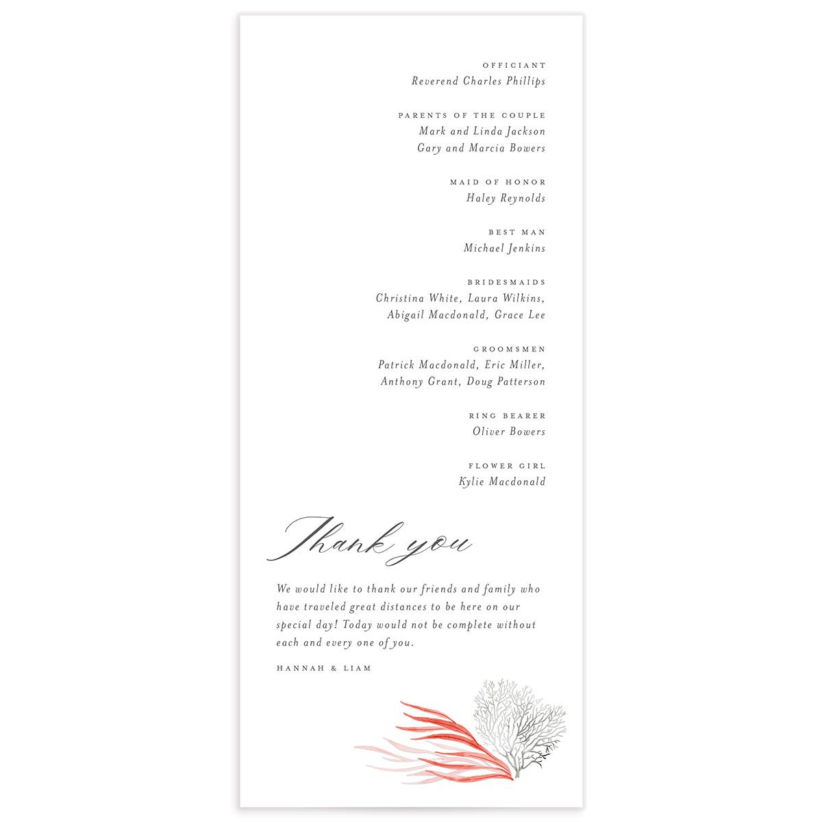 Elegant Beach wedding program back pink
