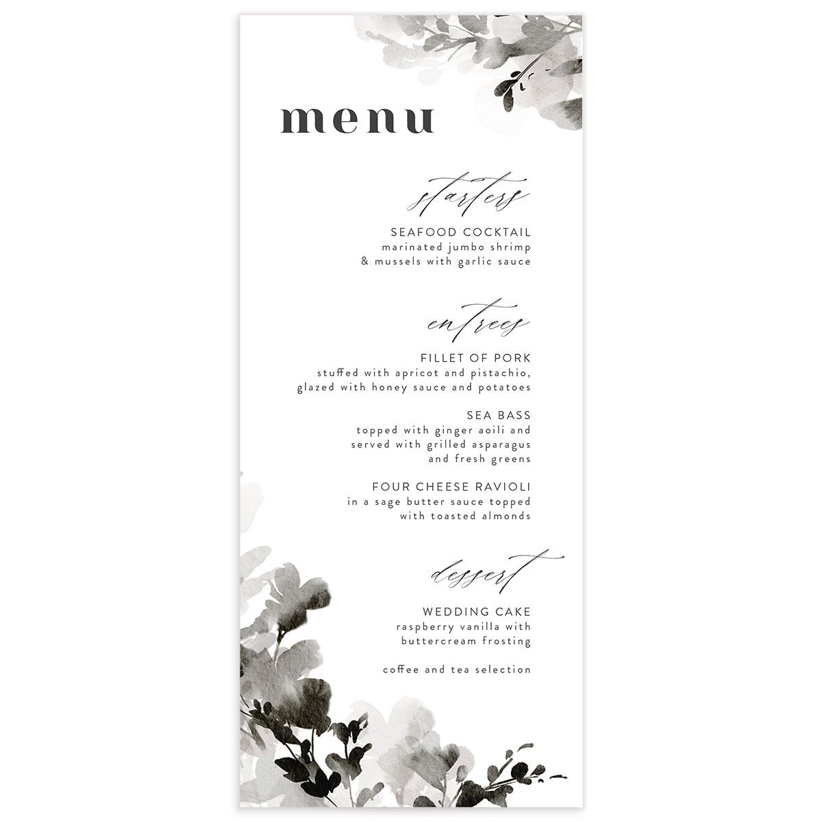Watercolor Blooms menu front black