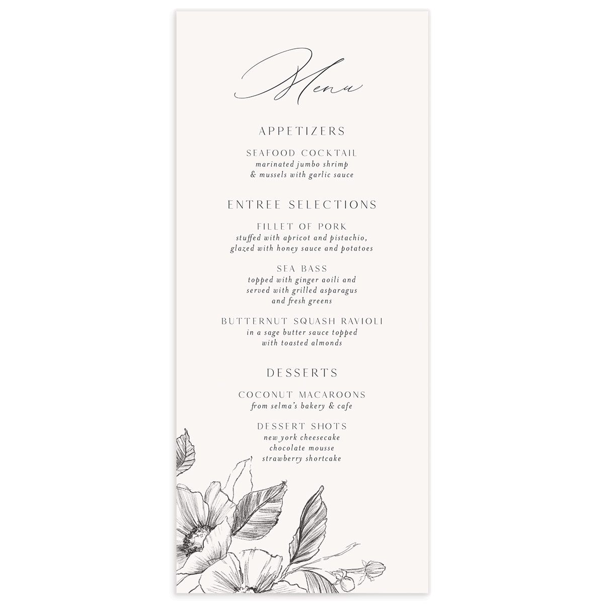 Botanical Floral wedding menu front