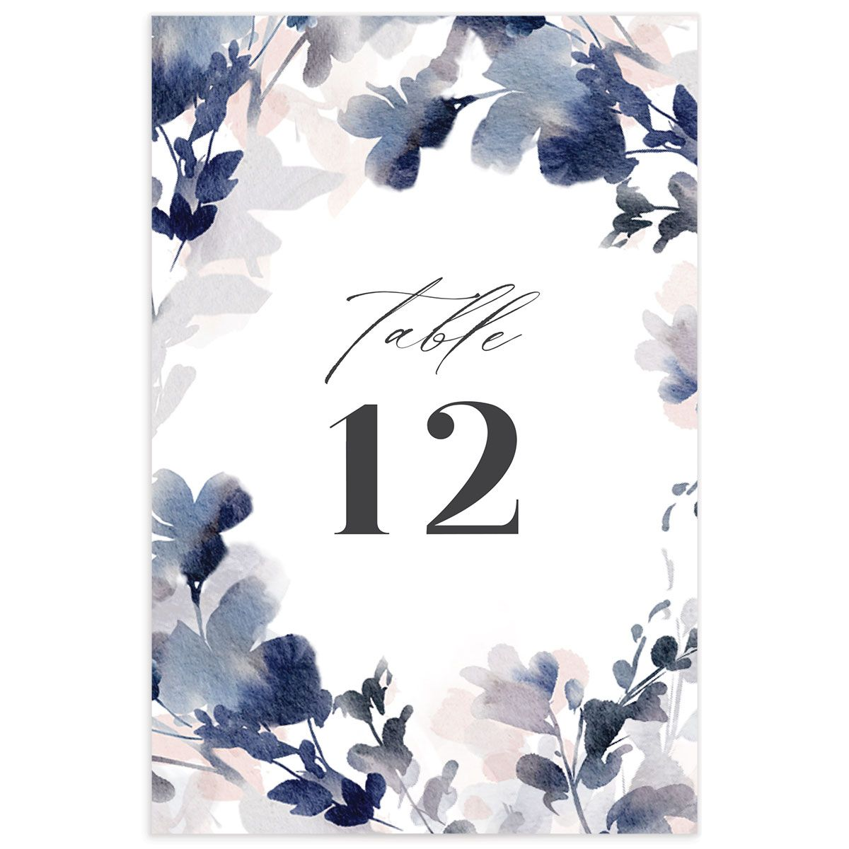 Watercolor Blooms table number front navy