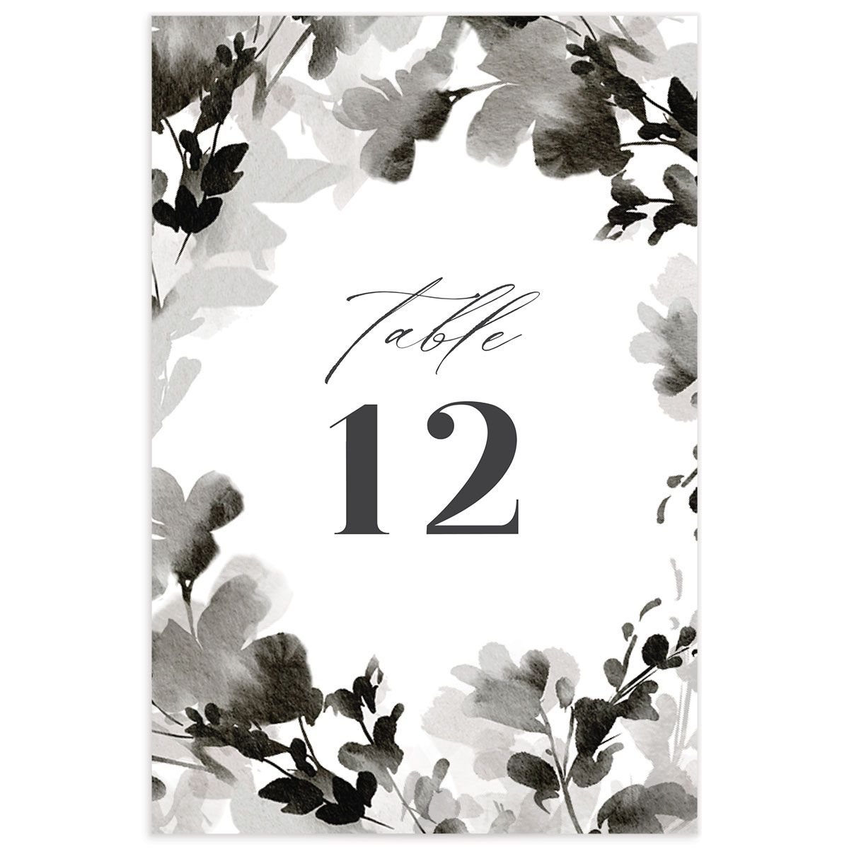 Watercolor Blooms table number back black