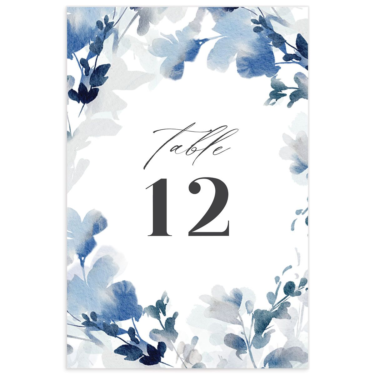 Watercolor Blooms table number back blue