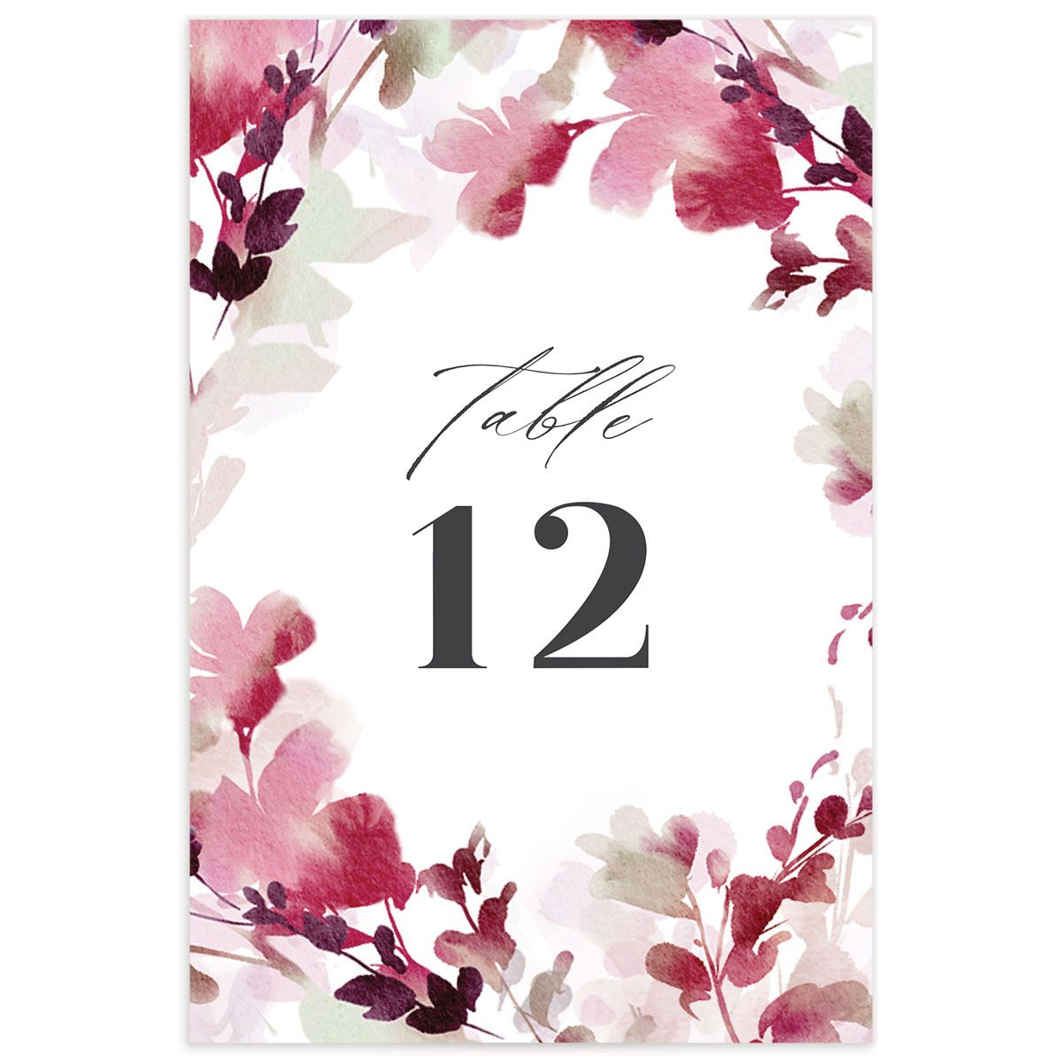 Watercolor Blooms table number back burgundy