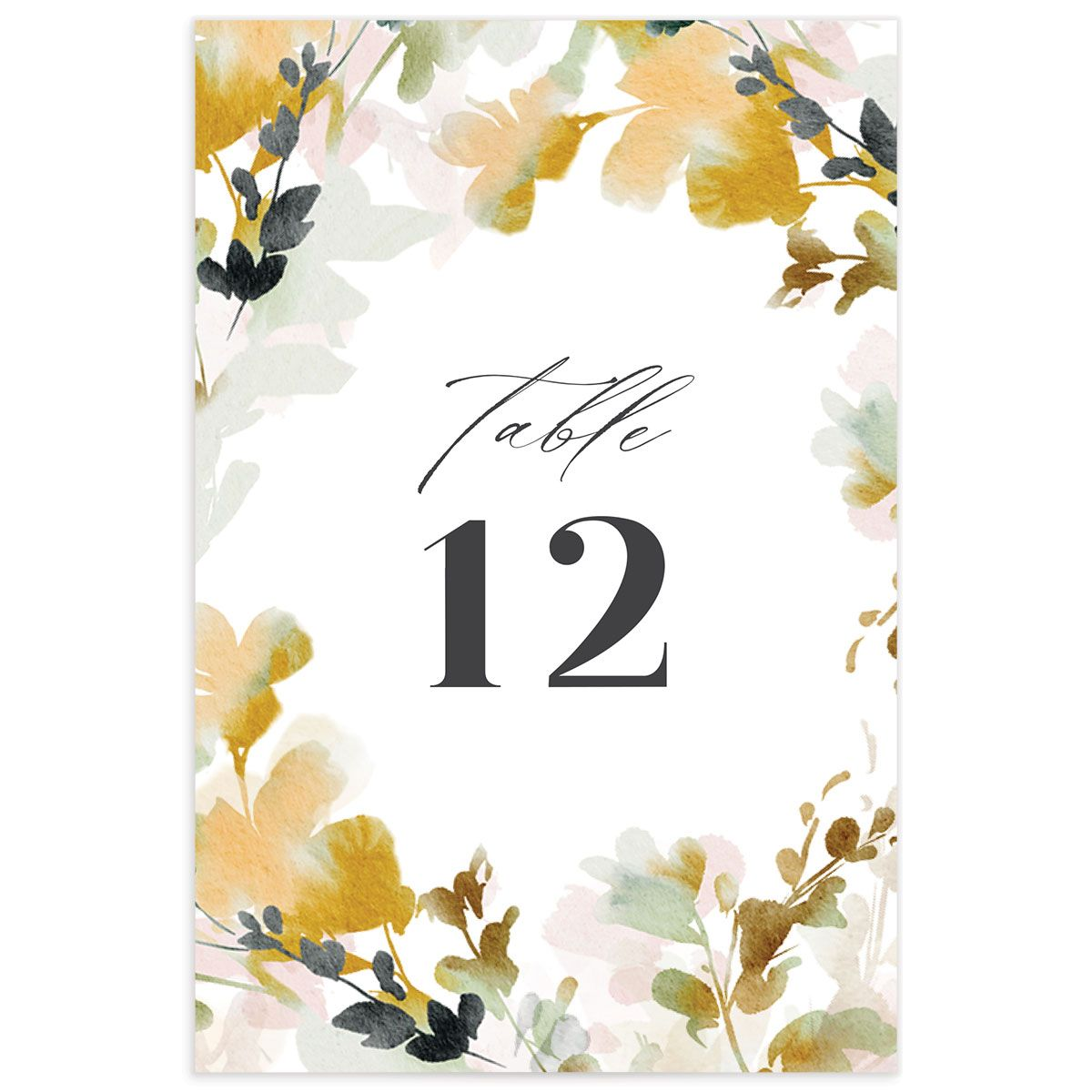 Watercolor Blooms table number back gold