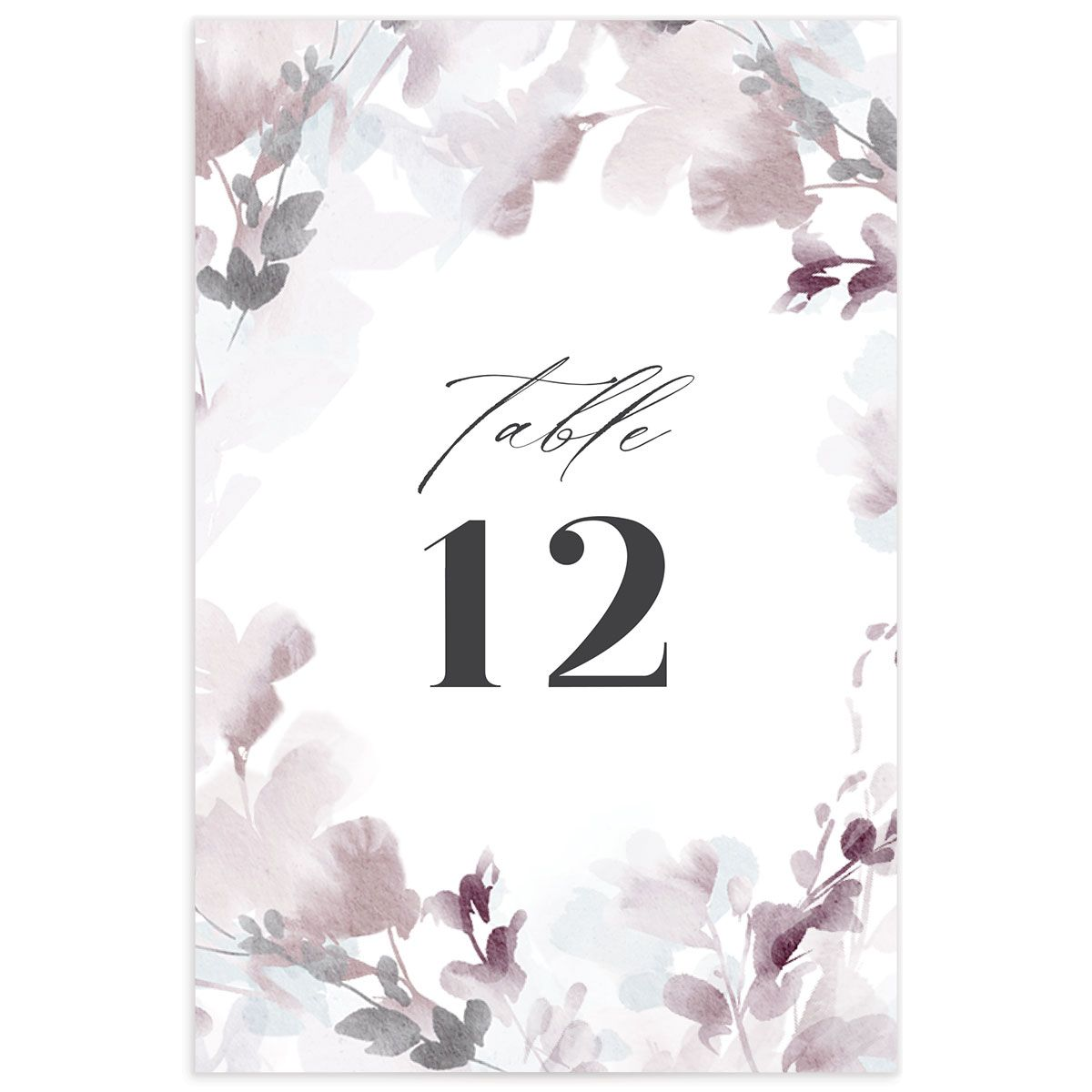 Watercolor Blooms table number back gray