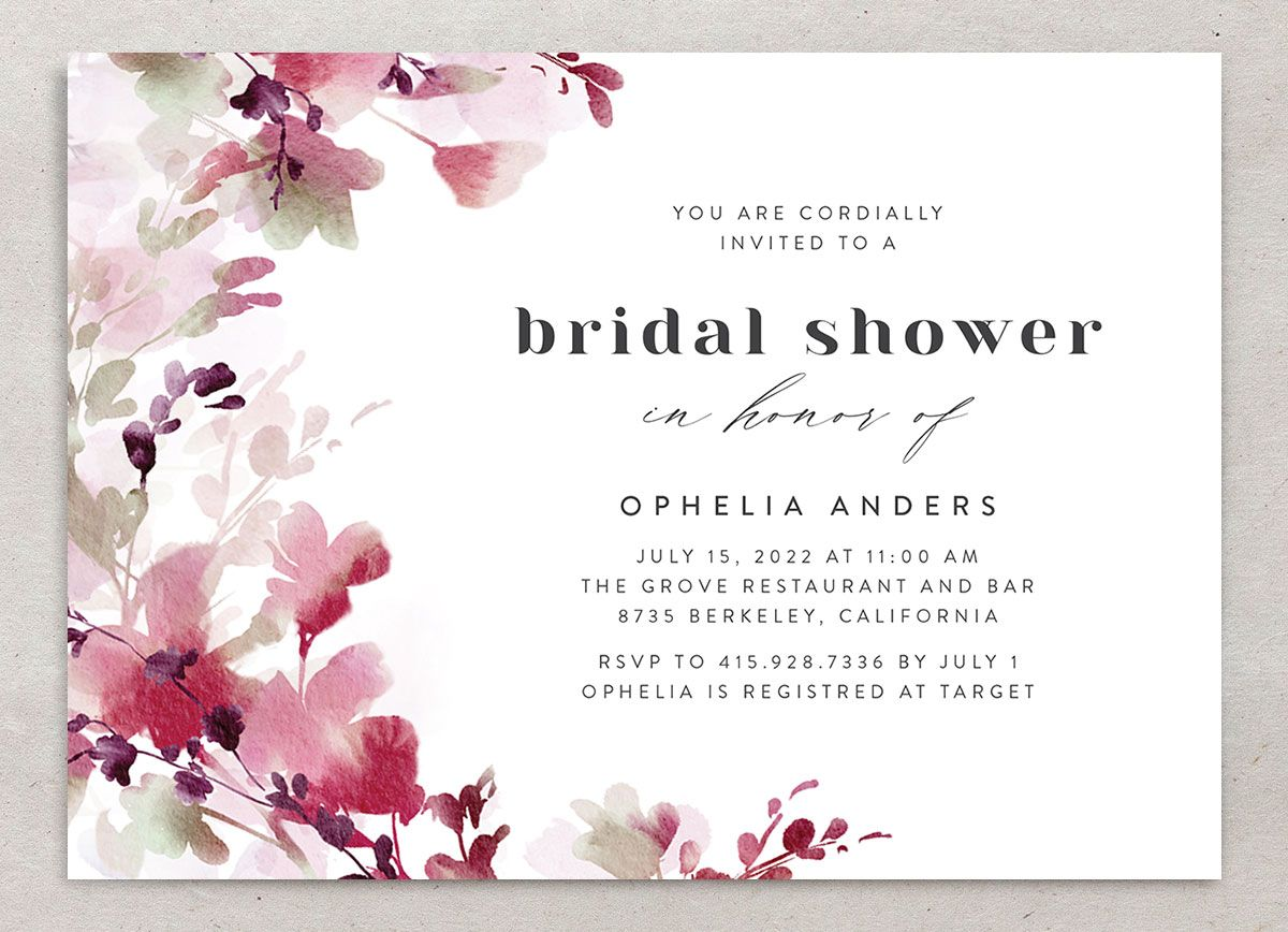 Watercolor Blooms bridal shower invitation front burgundy