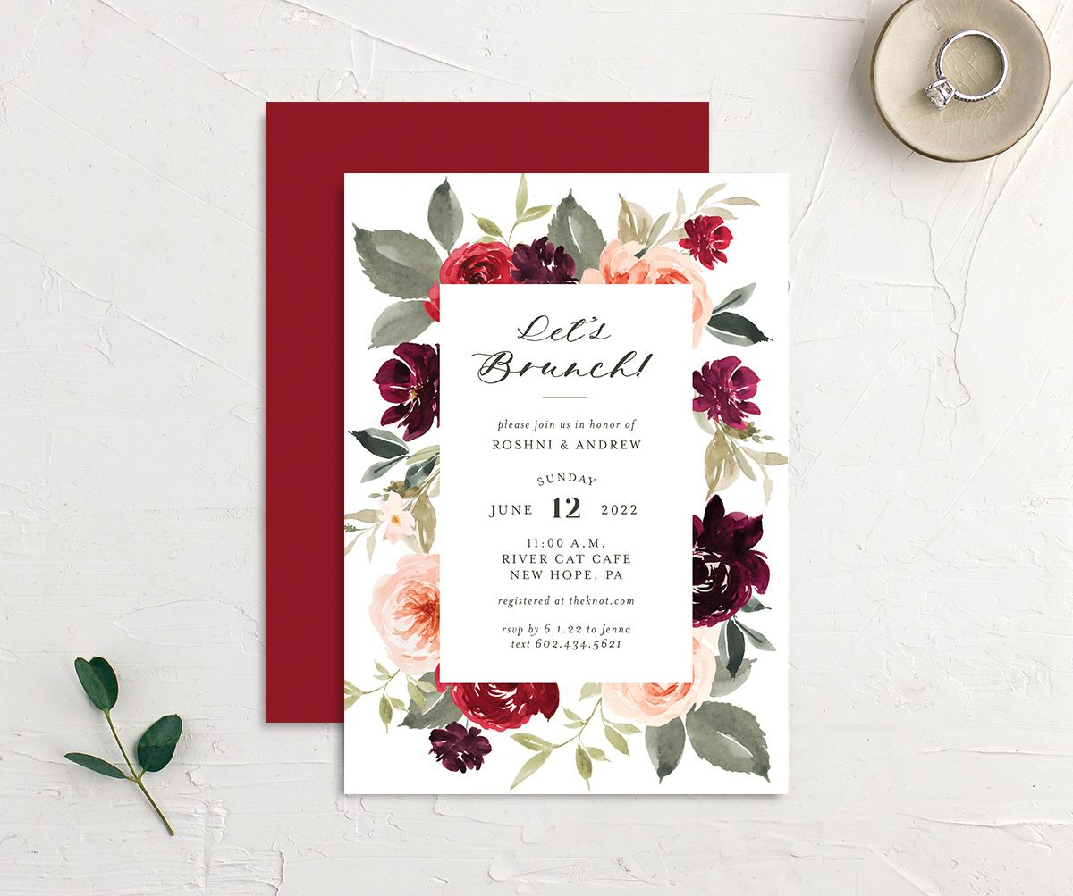 Vibrant Floral brunch invitation front and back red