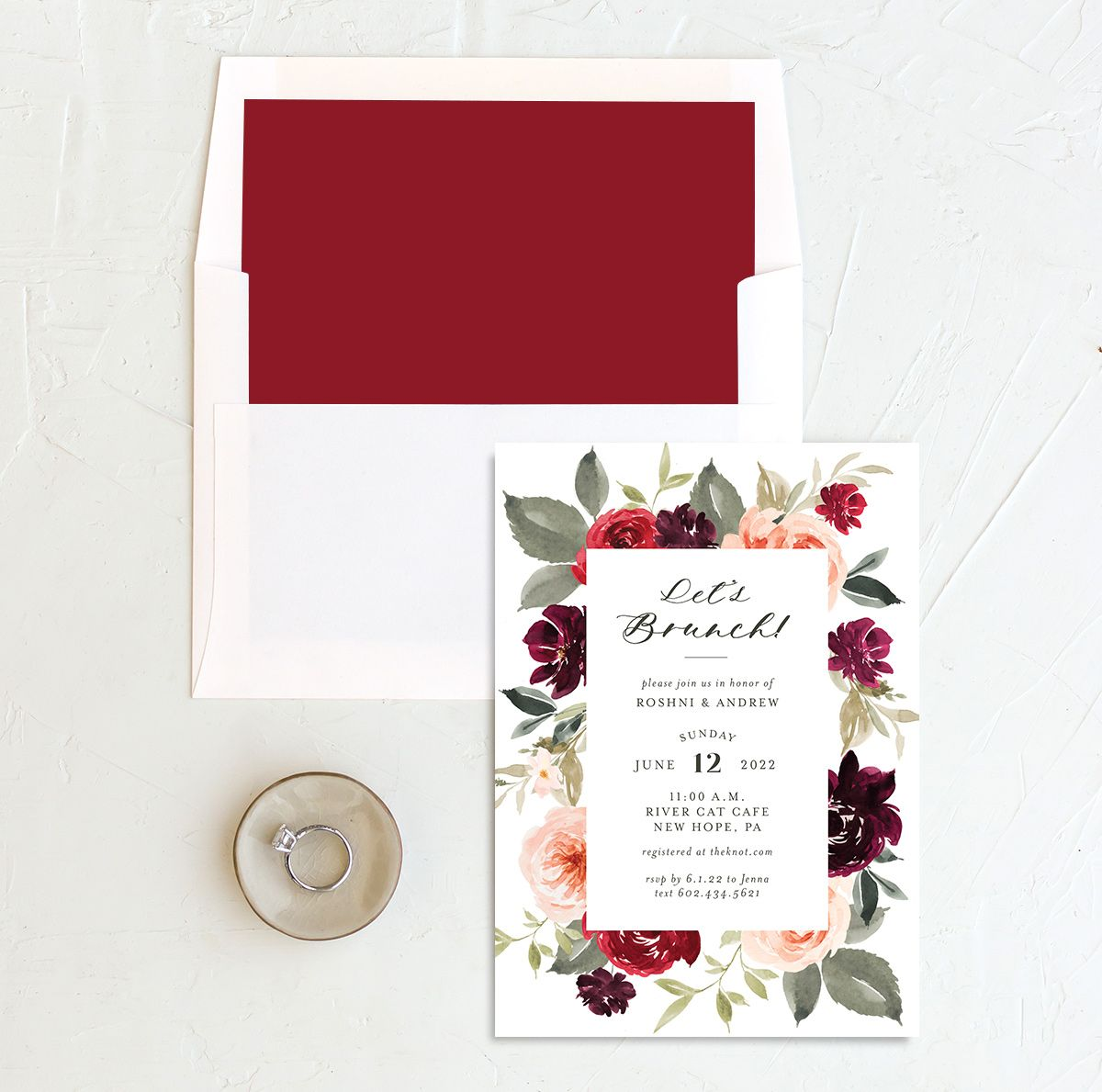 Vibrant Floral brunch invitation with liner red