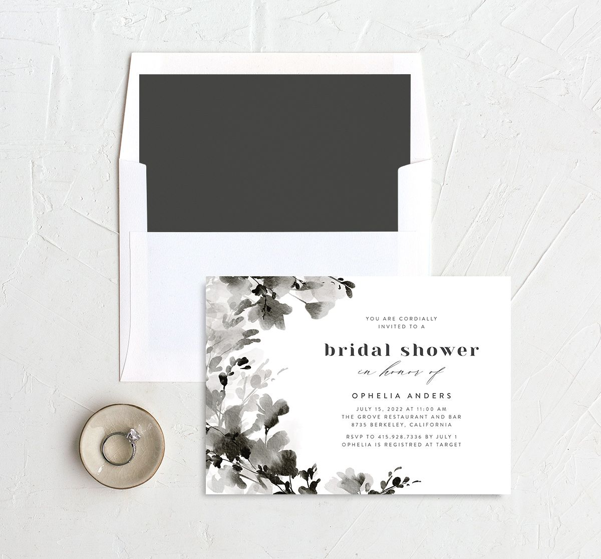 Watercolor Blooms bridal shower invitation with liner black