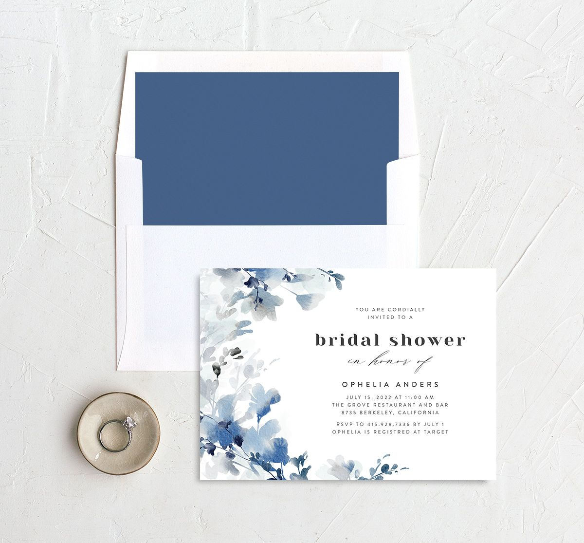 Watercolor Blooms bridal shower invitation with liner blue