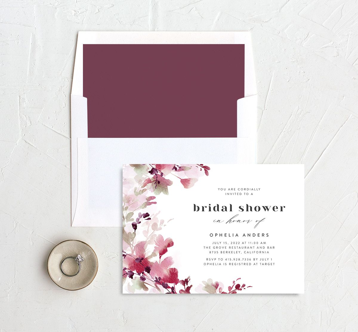Watercolor Blooms bridal shower invitation with liner burgundy