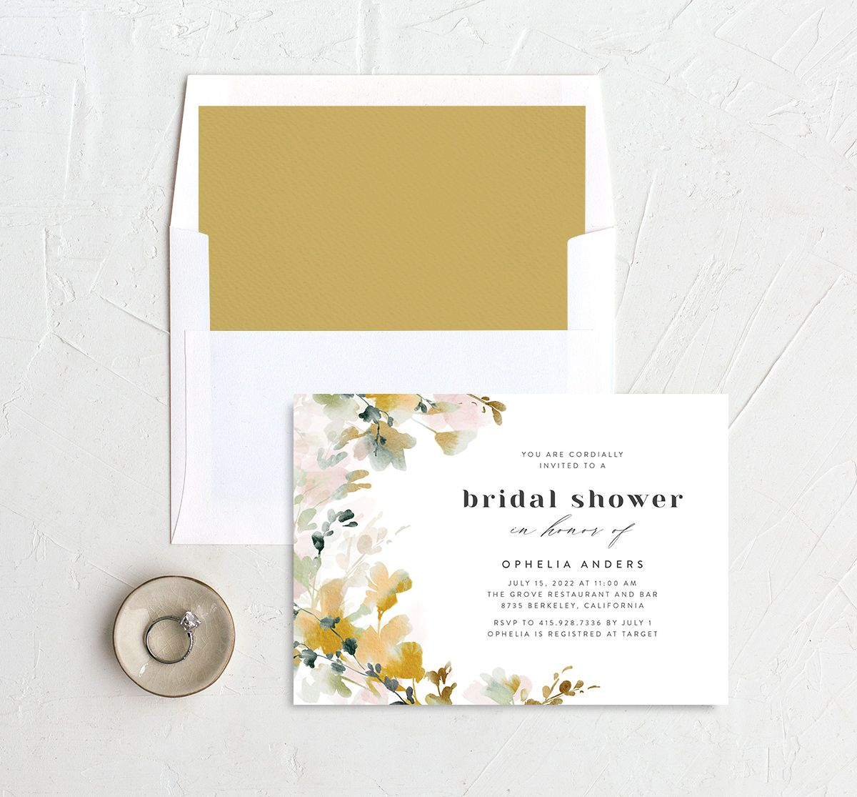 Watercolor Blooms bridal shower invitation with liner gold