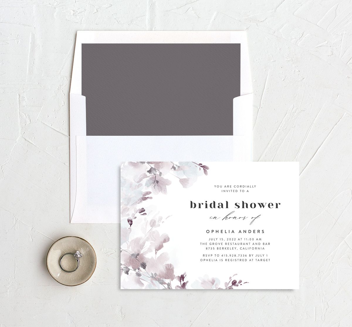 Watercolor Blooms bridal shower invitation with liner gray