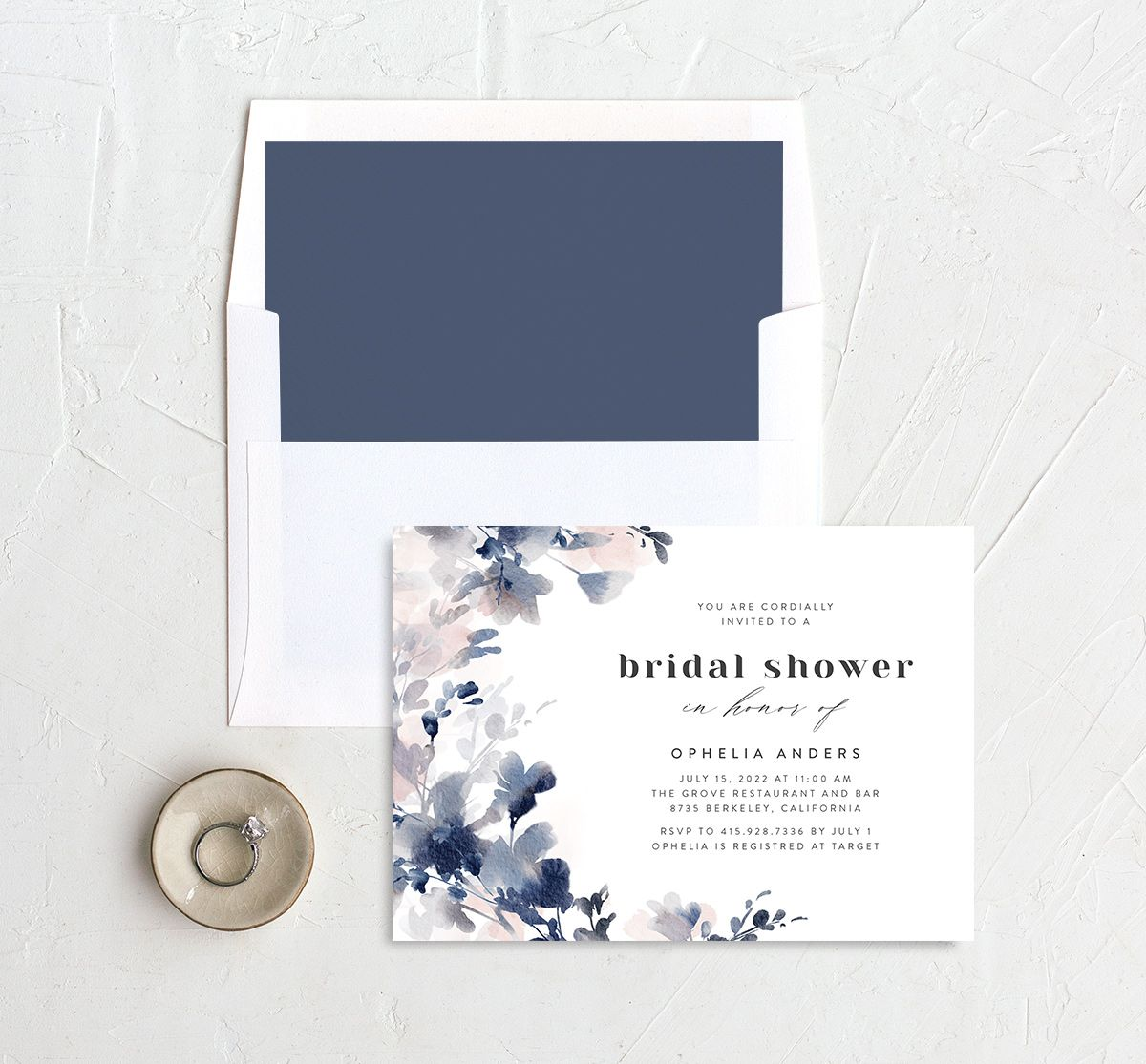 Watercolor Blooms bridal shower invitation with liner navy