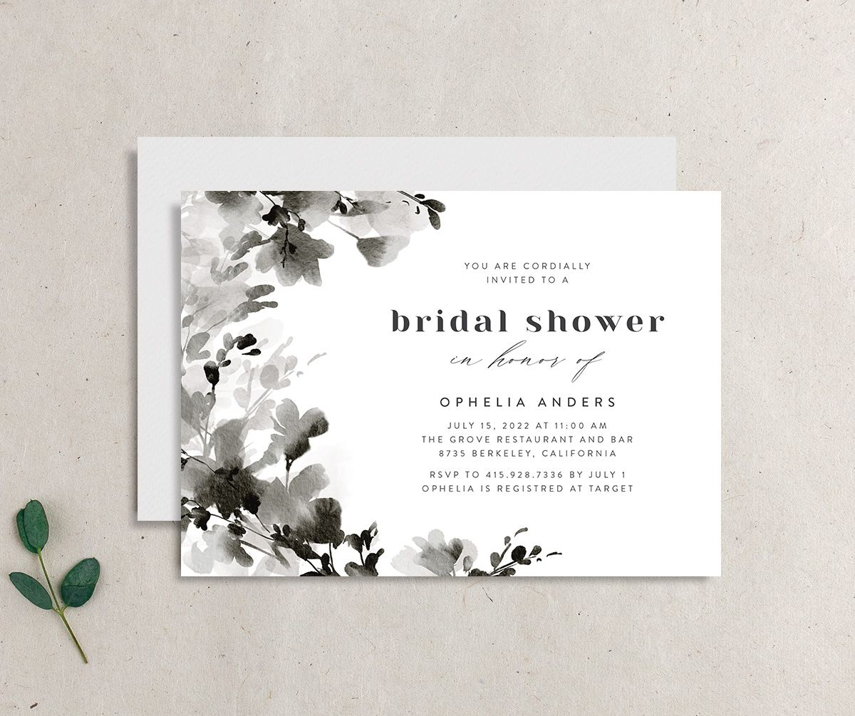 Watercolor Blooms bridal shower invitation black