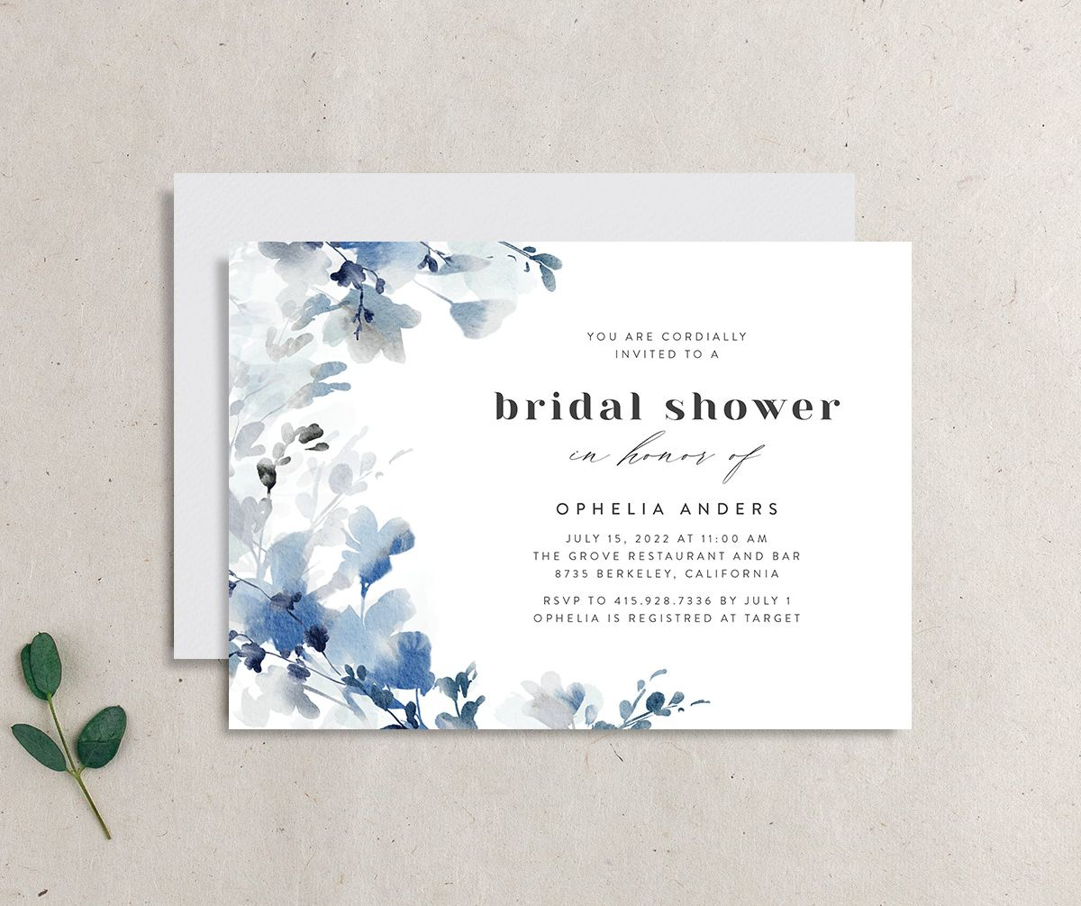 Watercolor Blooms bridal shower invitation blue