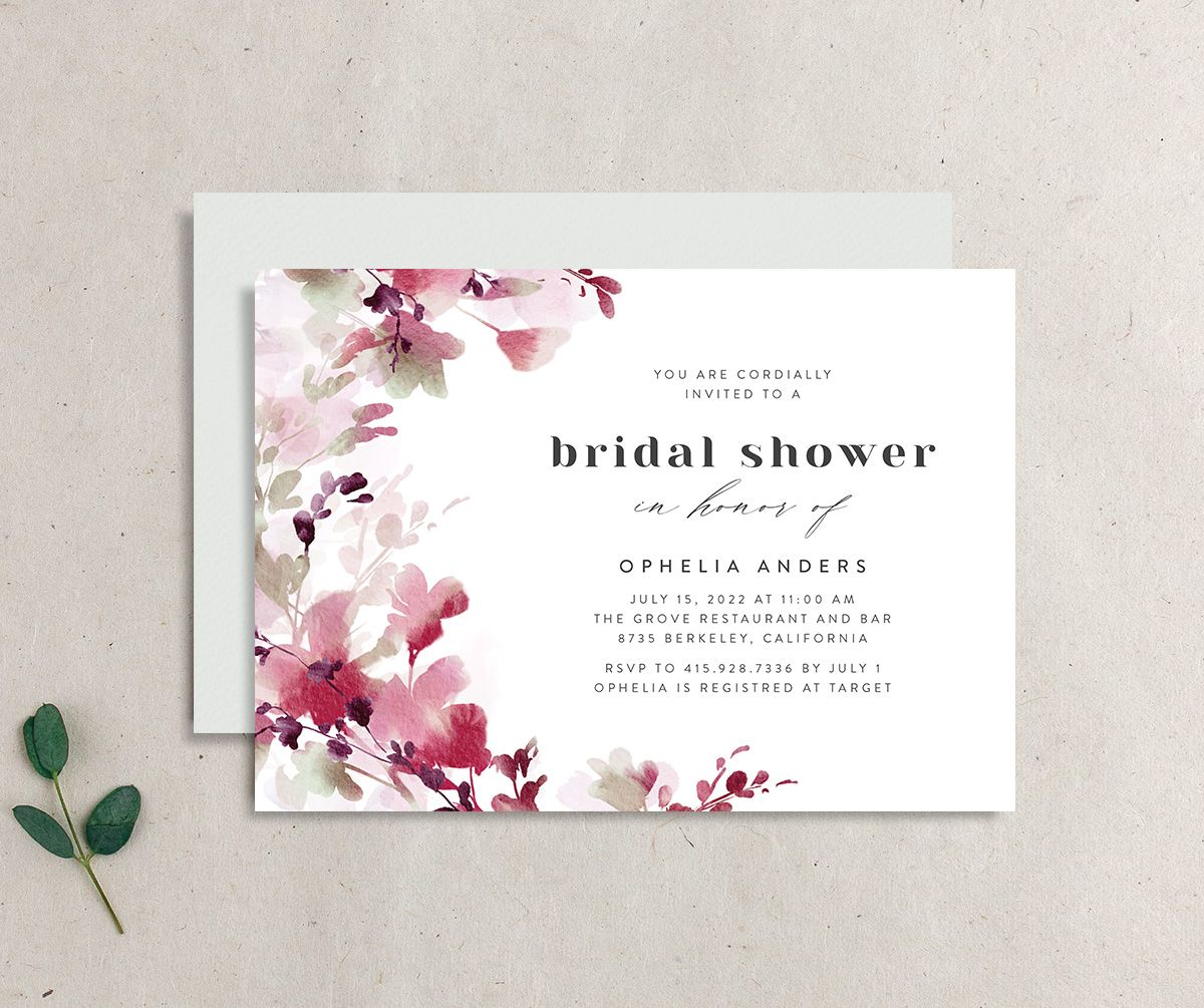 Watercolor Blooms bridal shower invitation burgundy