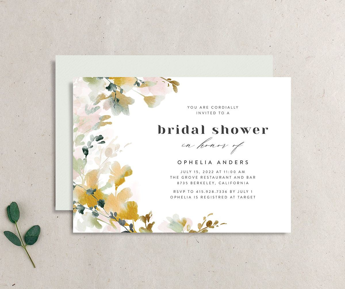 Watercolor Blooms bridal shower invitation gold