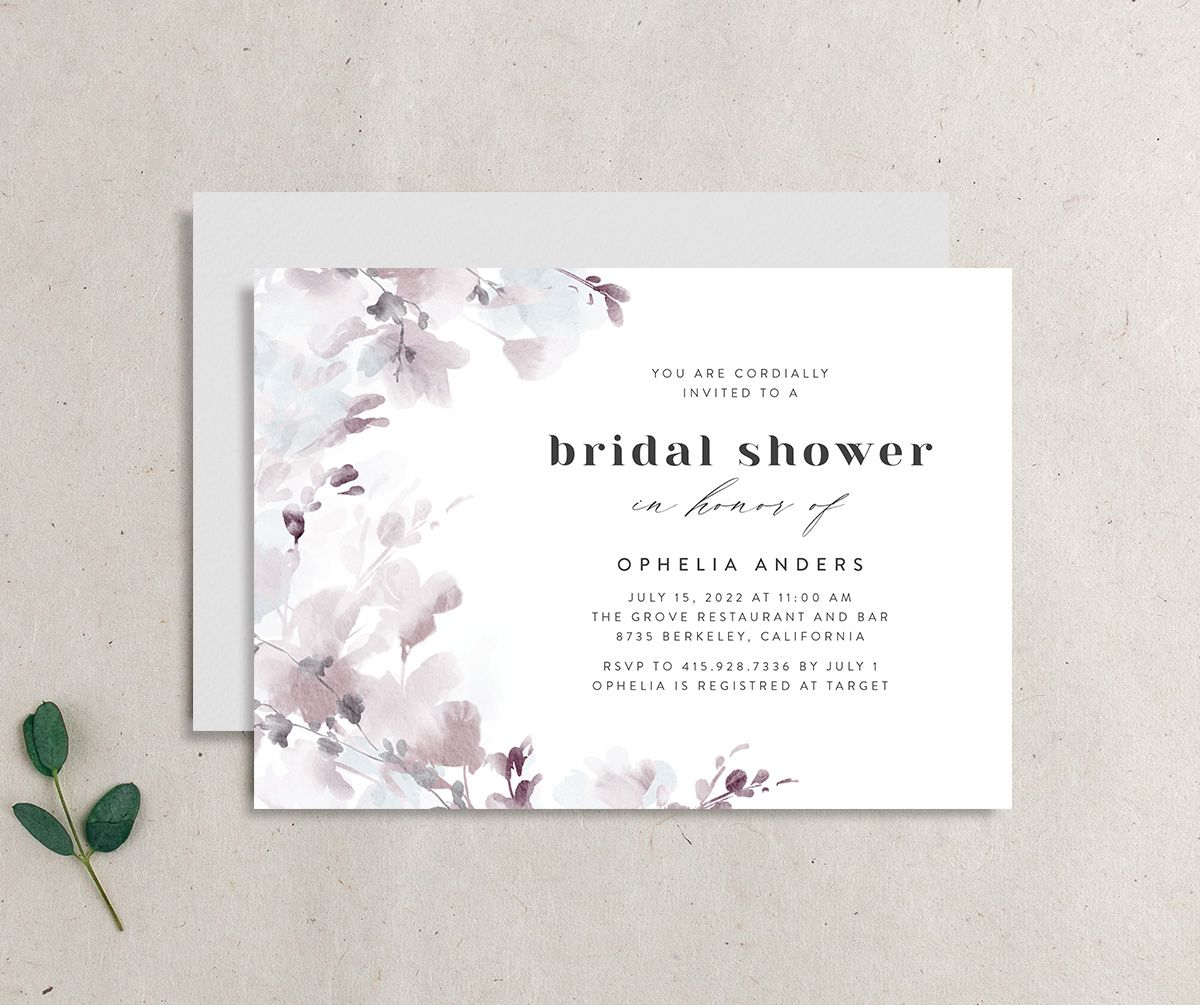 Watercolor Blooms bridal shower invitation gray